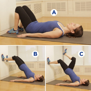 Упражнения для увеличения ягодиц - ходьба по стене