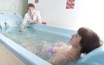 Принятие сероводородной ванны в санатории