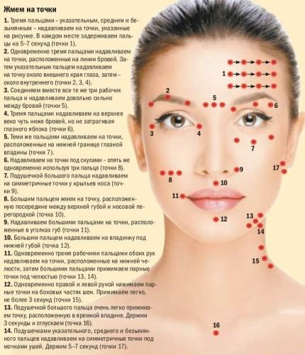 Карта точек воздействия при японском массаже лица шиацу