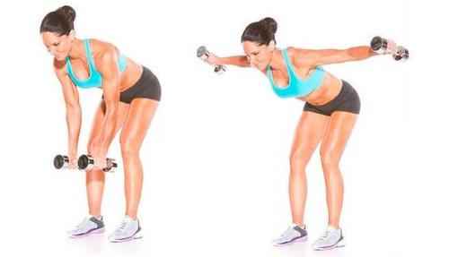 Упражнение для спины с гантелями